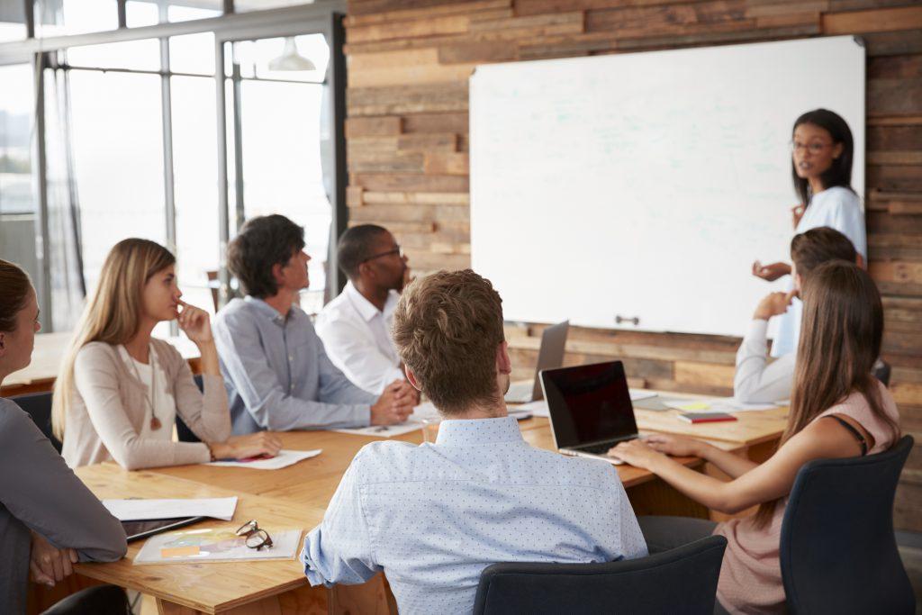 Female entrepreneur giving presentation