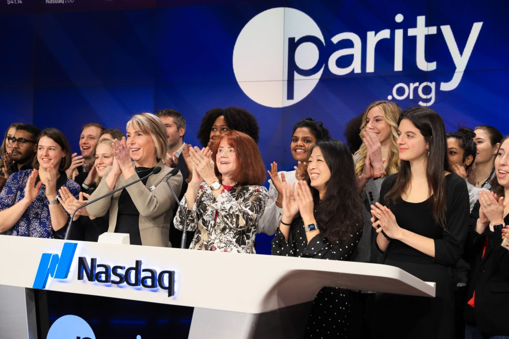 Cathrin Stickney, CEO of Parity.org, and group of ParityPledge companies ringing opening bell at Nasdaq in 2020